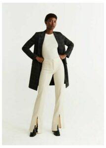 Lapelled straight-cut coat