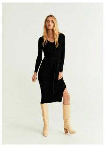 Belt ribbed dress