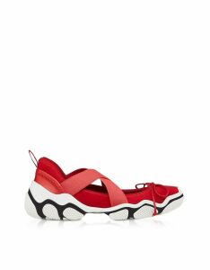 RED Valentino Designer Shoes, Amarillo Nylon Criss Cross Sneakers