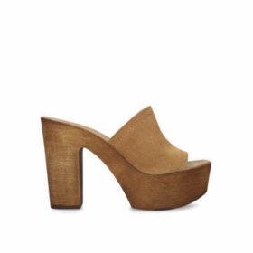 Kg Kurt Geiger Rumie - Tan Suede Block Heel Platform Sandals