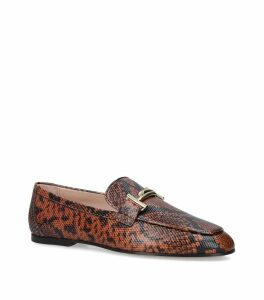Snake-Embossed Cuoio Loafers