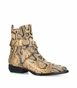 Snake-Embossed Leather Rylee Boots 20