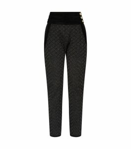 Metallic Diamond-Knit Trousers