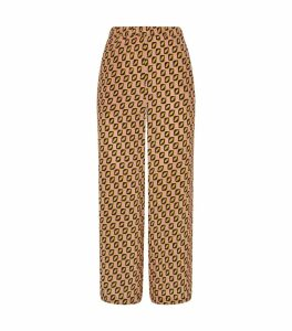 Silk Printed Cropped Trousers