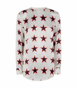 Star Print Silk Blouse