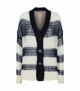 Open-Weave Stripe Cardigan
