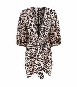 Ruffle Leopard Print Mini Dress