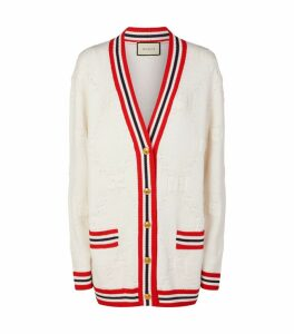 Stripe Trim GG Knit Cardigan