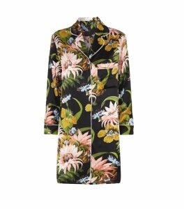 Poppy Tropicana Long-Sleeve Silk Nightshirt