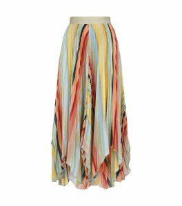 Metallic-Knit Midi Skirt