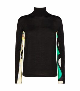 Silk-Trim Sweater