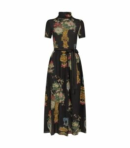 Tie Waist Vase Silk Midi Dress