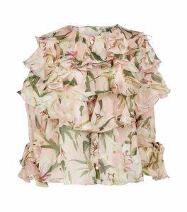 Silk Lily Print Blouse