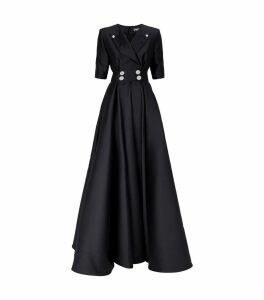 Embellished Button Tuxedo Gown