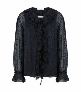 Point d'Esprit Ruffled Blouse