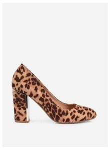 Womens Brown Leopard Print 'Evie' Heeled Court Shoes- Brown, Brown