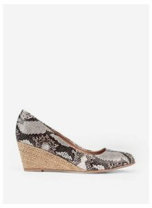 Womens Grey Snake Print Dreamy Wedge Court Shoes- Grey, Grey