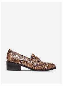 Womens Brown 'Liza' Snake Print Loafers- Brown, Brown