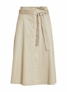 Womens Vila Beige Paperbag Midi Skirt - Cream, Cream