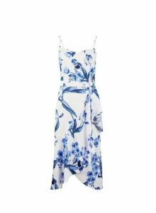 Womens **Luxe White China Floral Print Frill Camisole Dress, White