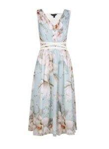 Womens **Showcase Sage 'Jasmine' Print Midi Dress- Blue, Blue