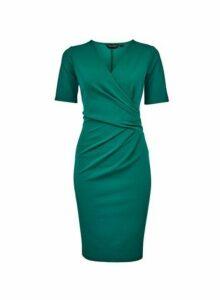 Womens **Emerald Short Sleeve Wrap Pencil Dress - Green, Green