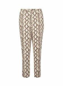 Womens Multi Coloured Snake Print Ankle Grazer Trousers- Multi Colour, Multi Colour