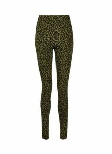 Womens **Tall Khaki Leopard Print Pull On Bengaline Trousers- Green, Green