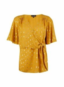 Womens Gold Clipped Wrap Top- Yellow, Yellow