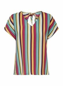 Womens **Only Multi Colour Short Sleeve Stripe Print Tie Top, Multi Colour
