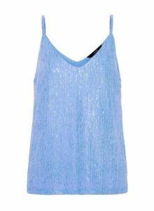 Womens **Vero Moda Blue Plisse Camisole Top, Blue