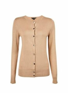 Womens Camel Gold Button Cardigan- Cream, Cream