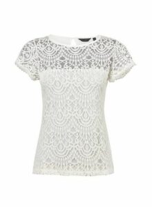 Womens White Angel Sleeve Lace Top- White, White