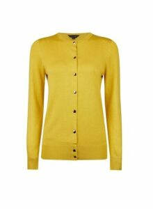 Womens Lime Gold Button Cardigan- Green, Green