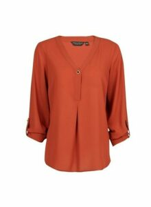 Womens Ginger Roll Sleeve Button Shirt- Red, Red