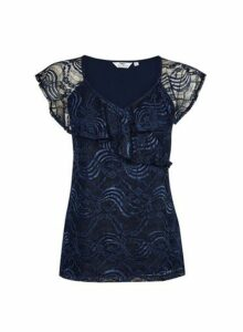 Womens **Tall Navy Lace Top- Blue, Blue