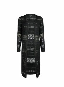 Womens Black Crochet Midi Cardigan- Black, Black