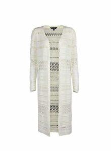 Womens Ivory Crochet Midi Cardigan- White, White
