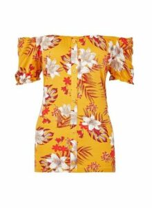 Womens Tall Yellow Tropical Print Milkmaid Bardot Top, Yellow