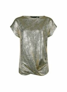 Womens Gold Twist Hem T-Shirt, Gold