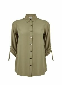 Womens Petite Khaki Shirred Sleeve Shirt- Green, Green