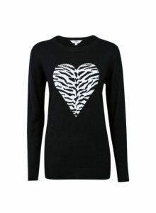 Womens **Tall Black Heart Animal Print Jumper, Black
