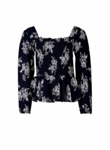 Womens Navy Silhouette Square Neck Top - Blue, Blue
