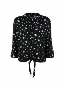 Womens Black Ditsy Print Tie Crinkle Shirt, Black