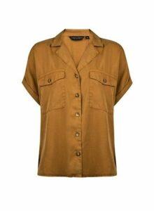 Womens Yellow Short Sleeve Shirt- Ochre, Ochre