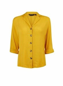 Womens Yellow Casual Crinkle Shirt- Orange, Orange