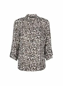 Womens Brown Leopard Print Roll Sleeve Shirt, Brown