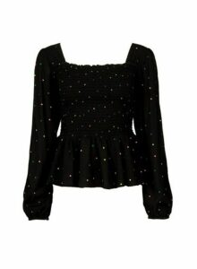 Womens Black Polka Dot Print Square Neck Top, Black