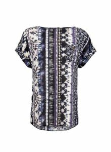 Womens Black And White Tie Dye T-Shirt- Multi Colour, Multi Colour