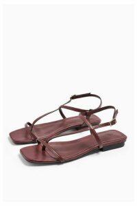 Womens Haven Burgundy Flat Sandals - Burgundy, Burgundy